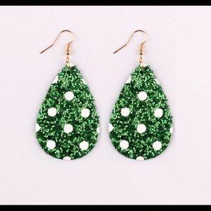 Festive Faux leather glitter earrings